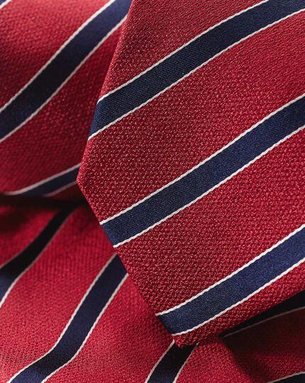 Silk Stripe Tie - Red & Navy