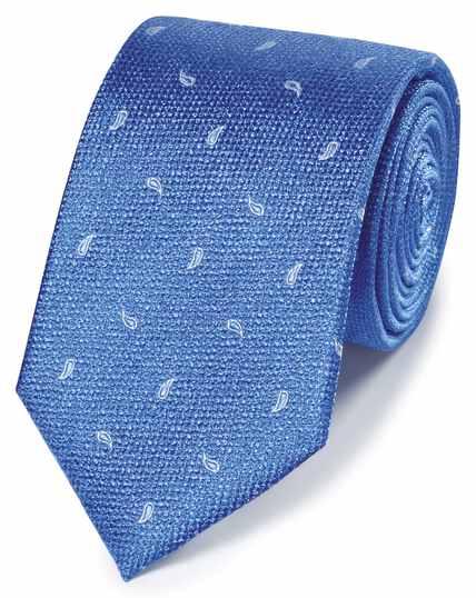 Bright blue paisley classic tie