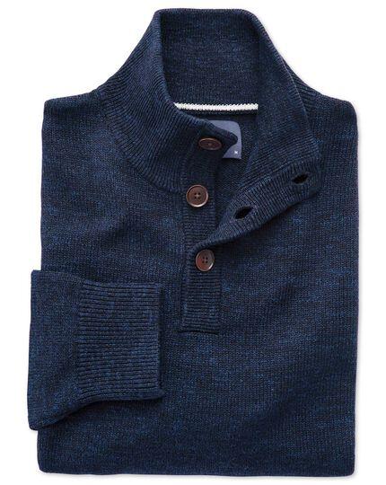 Indigo blue heather button neck jumper