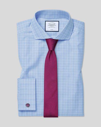 Chemise à carreaux Prince de Galles et col cutaway sans repassage - Bleu ciel