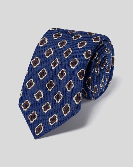 Medallion Print Italian Wool Luxury Tie - Royal Blue & Brown
