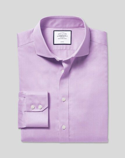Cutaway Collar Non-Iron Puppytooth Shirt - Lilac