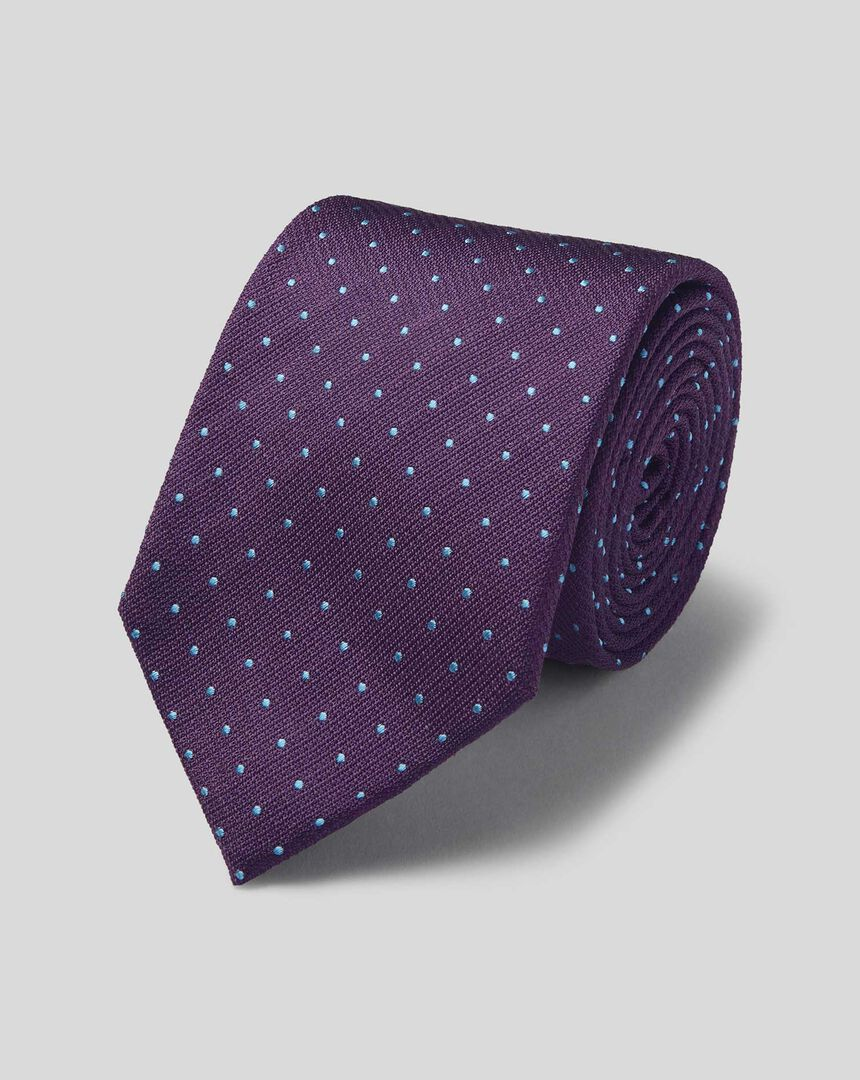 Silk Spot Stain Resistant Classic Tie - Purple & Sky