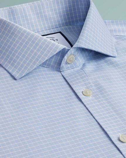 Super slim fit non-iron 4-way stretch sky blue check shirt