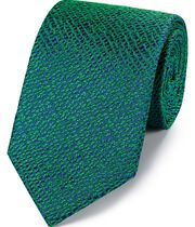 Green silk textured English luxury tie