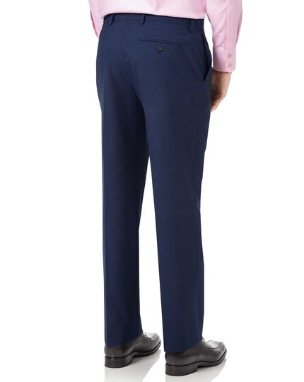 Indigo blue classic fit Panama puppytooth business suit trousers