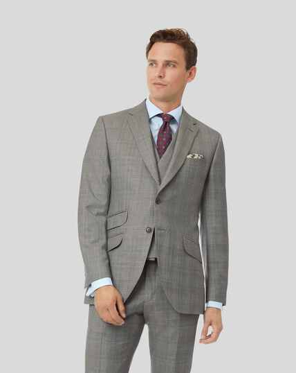 Prince of Wales Check British Luxury Suit Jacket - Grey