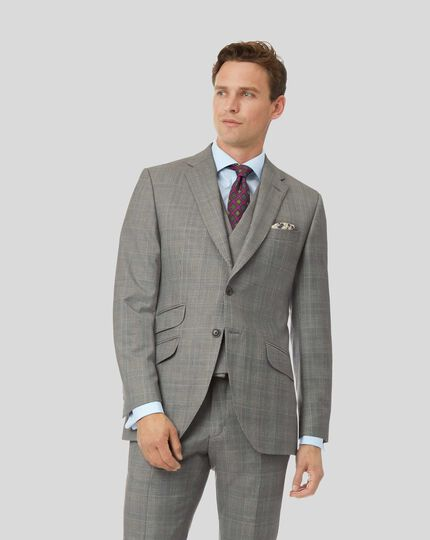 Prince Of Wales British Luxury Suit Jacket - Grey