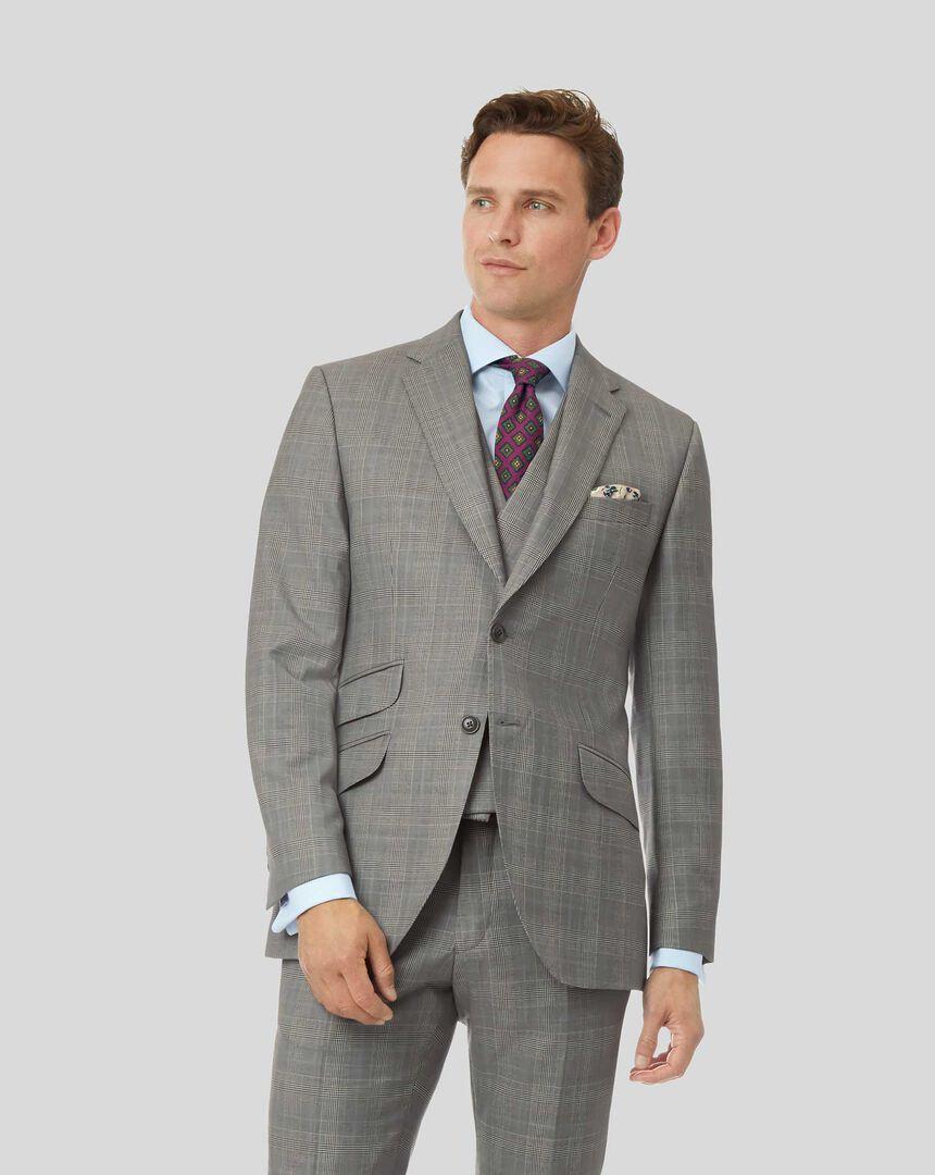 Prince Of Wales British Luxury Suit Jacket - Grey