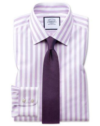Classic fit non-iron purple wide bengal stripe shirt