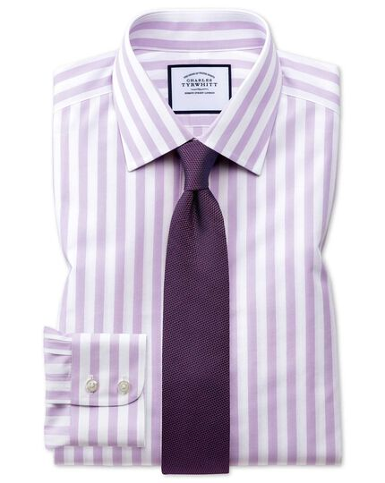Classic fit non-iron purple wide bengal stripe shirt