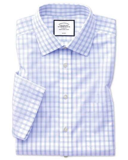 Classic fit non-iron natural cool short sleeve sky blue check shirt