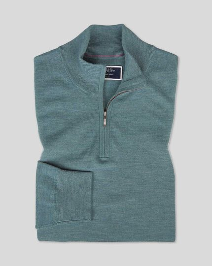 Merino Zip Neck Jumper - Teal Melange