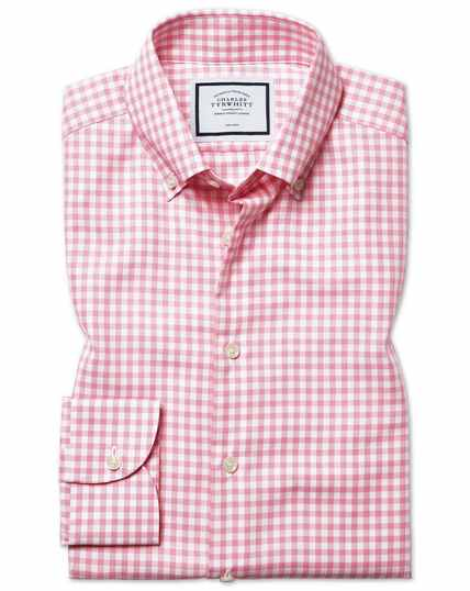 Slim fit business casual non-iron pink check shirt with TENCEL™
