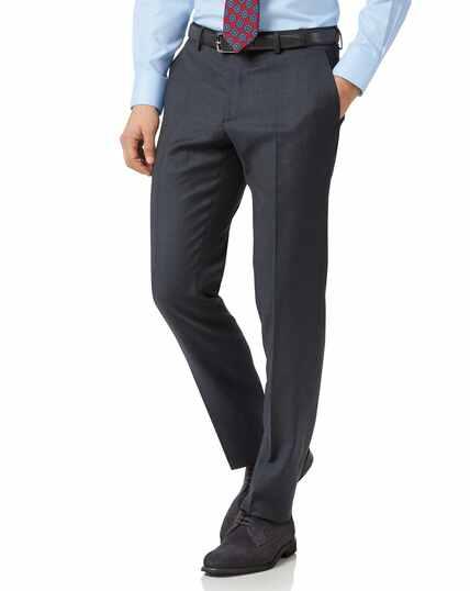 Steel blue slim fit twill business suit pants