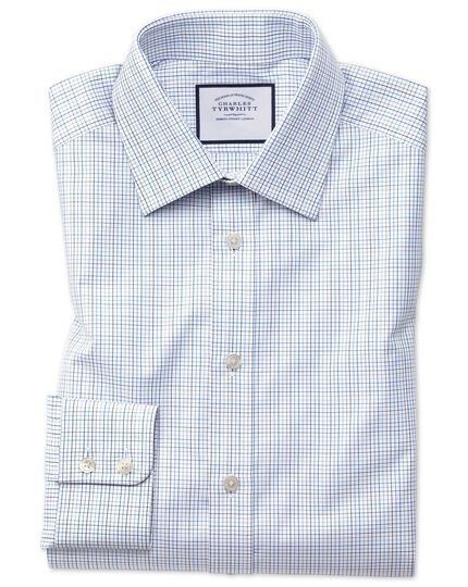 Extra slim fit blue multi check Egyptian cotton shirt