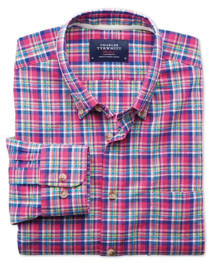 Slim Fit Hemd in Rosa und Grün mit Karos