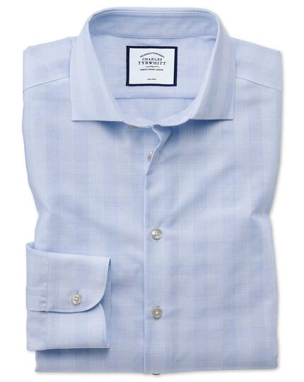 Classic fit business casual non-iron sky blue check shirt