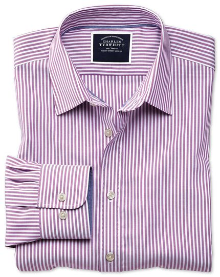 Classic fit non-iron purple Bengal stripe Oxford shirt