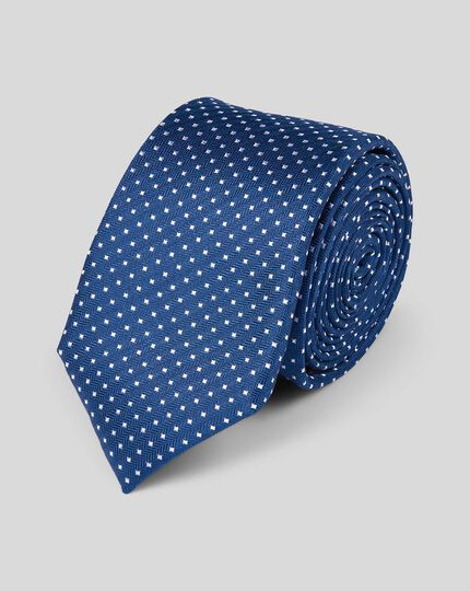 Silk Slim Spot Tie - Royal Blue & White