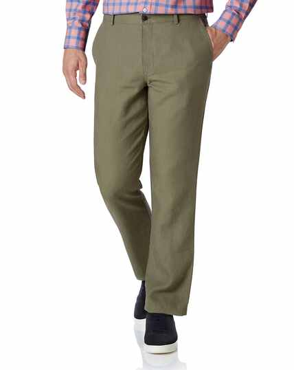 Olive classic fit easy care linen trousers