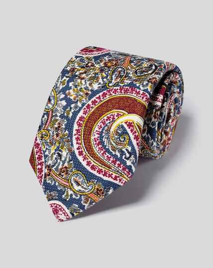 Italienische Luxuskrawatte aus Seide & Baumwolle mit Paisleymuster - Bunt