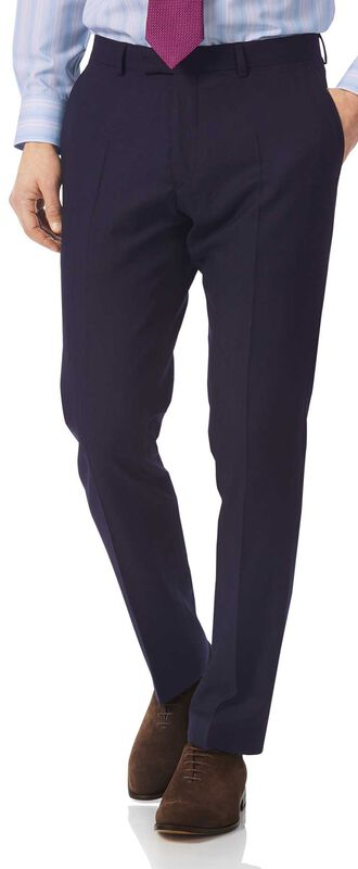 Slim Fit Luxusanzug-Hose aus britischem Material in Marineblau