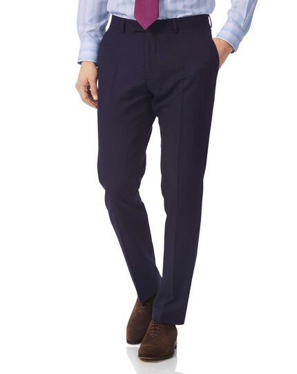 Navy slim fit British luxury suit trousers