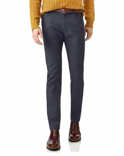 Blue diamond texture stretch 5-pocket trousers