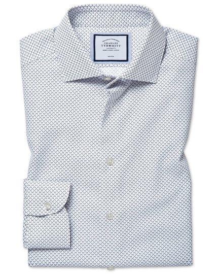 Bügelfreies Extra Slim Fit Hemd mit geometrischem Print in Blau