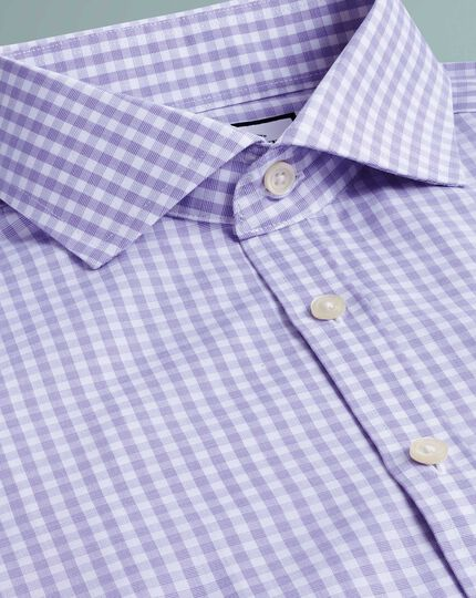 Super slim fit non-iron Tyrwhitt Cool poplin purple check shirt