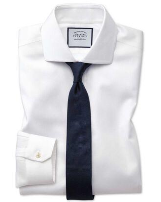 Chemise blanche à col cutaway en oxford stretch super slim fit sans repassage