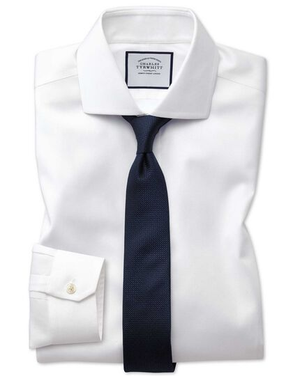 Super slim fit non-iron cutaway collar white Oxford stretch shirt