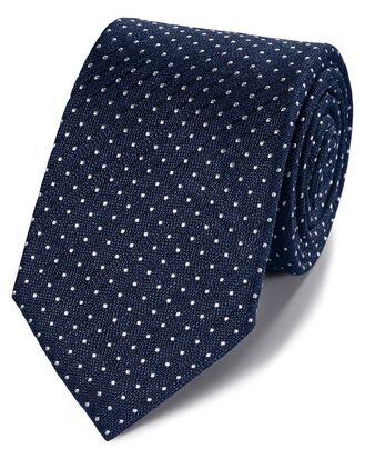 Navy linen silk spot classic tie