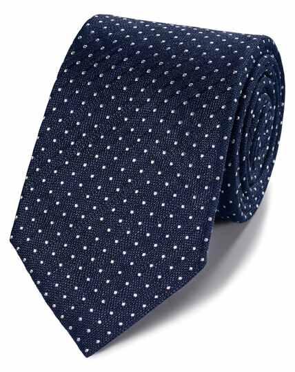 Cravate classique bleu marine en lin et soie à pois
