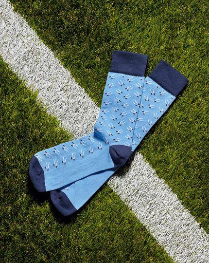 England Rugby Socken mit Rugbytor-Motiv - Himmelblau