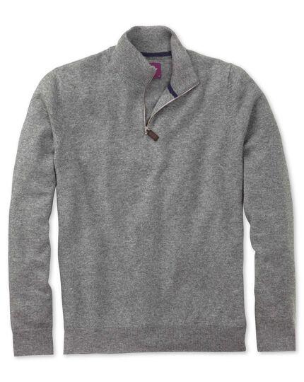 Silver cashmere zip neck jumper