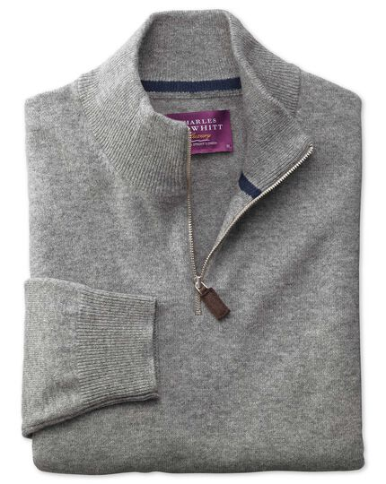 Silver cashmere zip neck sweater