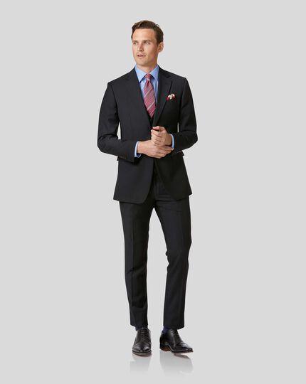 Slim Fit Business Anzug Sakko aus Twill in Schwarz