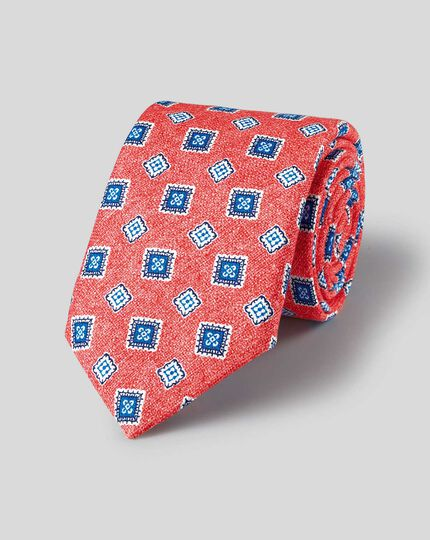 Medallion Print Italian Luxury Tie - Light Red & Blue