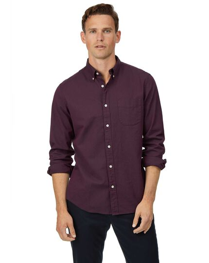 Button-Down Washed Oxford Shirt - Berry
