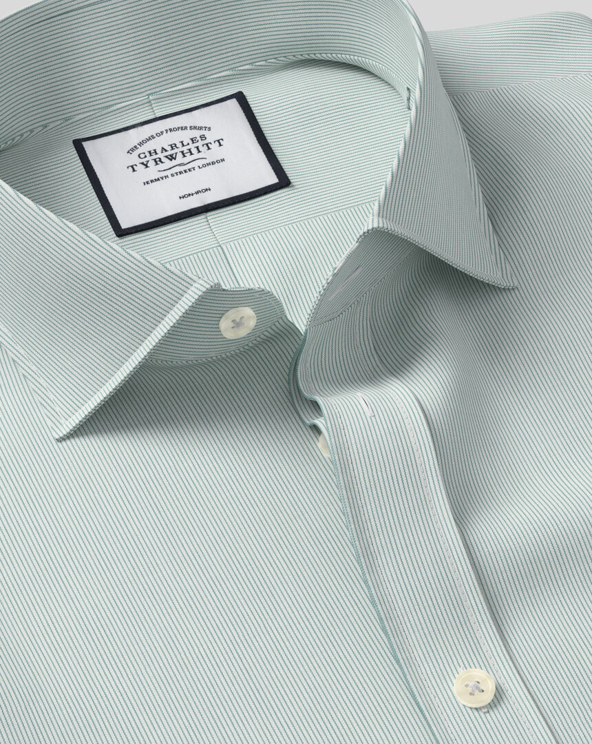 Spread Collar Non-Iron 4-Way Stretch Hairline Stripe Shirt - Green
