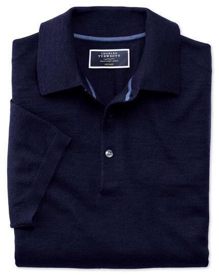 Navy merino wool polo collar short sleeve sweater