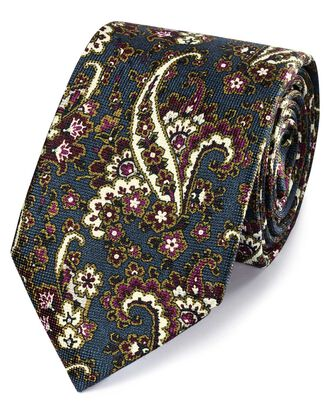 Teal silk printed paisley classic tie