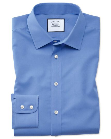 Slim fit non-iron poplin blue shirt