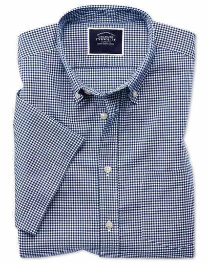 Slim fit royal blue short sleeve gingham soft washed non-iron stretch shirt
