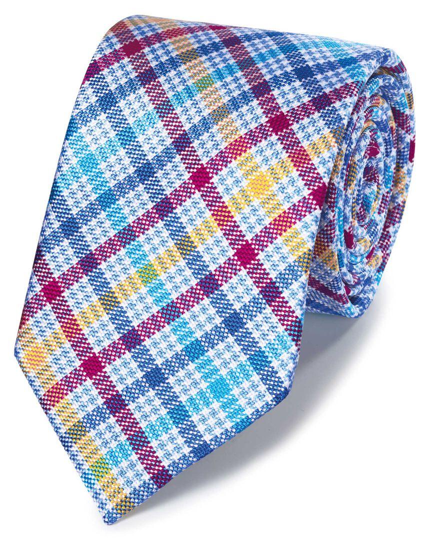 Multi check silk English luxury tie