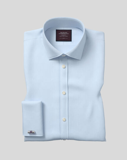 Semi-cutaway Collar Luxury Twill Shirt  - Light Blue