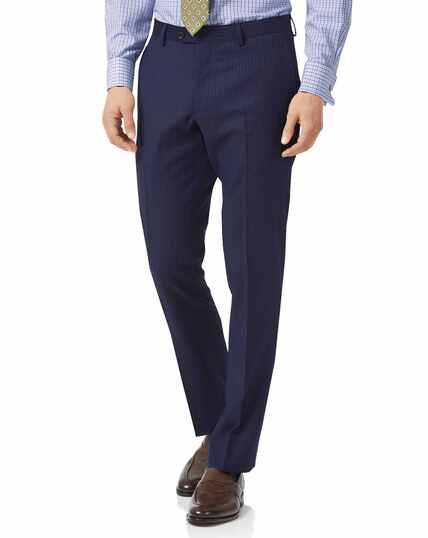 Blue slim fit twill stripe business suit pants