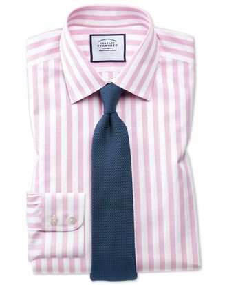 Slim fit non-iron Jermyn street stripes pink shirt